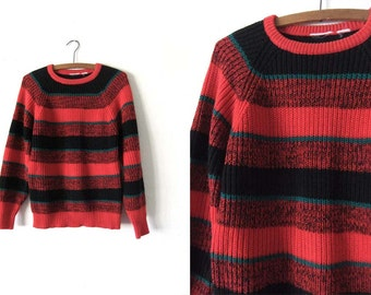 90s Grunge Style Striped Sweater - Red & Black Freddy Krueger Style Knit Jumper - Mens Small