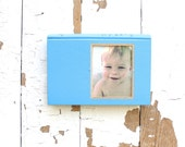 vintage book picture frame. READABLE vintage book as unique photo frame. The Tenth Month, 1970. robins egg sky blue baby child gift