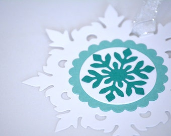6 Snowflake Christmas Gift Tags in Teal and White