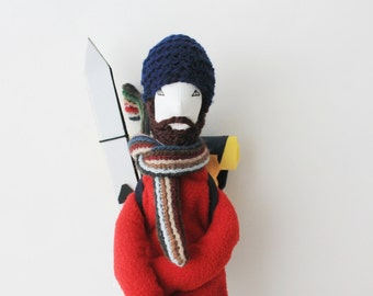 Backpacker skier cloth man doll Sicrano, ooak bearded hiker soft doll, upcycled traveler stuffed doll gift, featured in STUFFED magazine