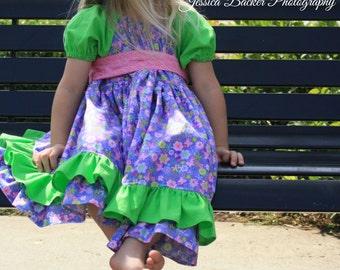 Girls Floral Dress - Girls Purple Dress - Girls Ruffle Dress - Girls Peasant Dress - Girl Spring Dress - Modest Dress - Girl boutique dress