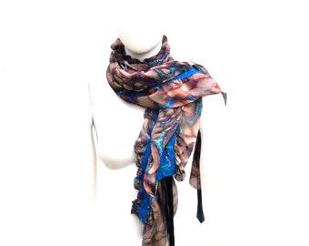 Ruffled Scarf Silk Merino Wool Nuno Felted