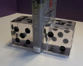 On SALE!  2 Vintage LARGE OVERSIZED Lucite Acrylic Dice Op Art Bookends Sculptures Charles Hollis Jones ? 2201