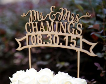 Personalized Last Name Wedding Cake Topper, Custom Linden Wood Mr and Mrs Cake Topper, Personalized with YOUR Last Name #106