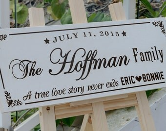 Personalized Family Name Sign Plaque Custom Made 8x22 engraved Family sign, wedding or anniversary gift 017