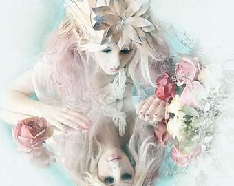 Lily Fairy Avant garde branch ART Nouveau fascinator handmade headpiece crown headdress hat high fashion crown