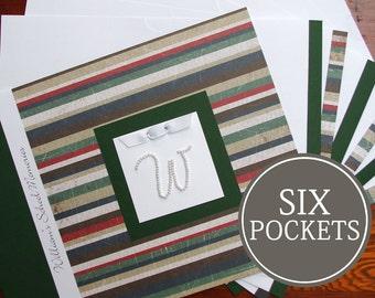 School Memory Book | School Days | School Scrapbook | School Journal | School Album | Personalized | Stripes with Initial Charm