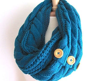 Teal Infinity Loop Scarf Braided Cable Knit Peacock Neckwarmer Blue Scarves with Buttons Women Girls Accessories