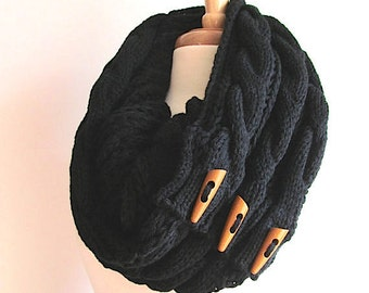 Black Infinity Loop Scarf Braided Cable Knit Circle Neckwarmer Scarves with Buttons Cream Women Girls Accessories