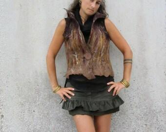 Mini skirt ~ Ruffle ~ Felt edged ~ Corduroy ~ Steampunk clothing