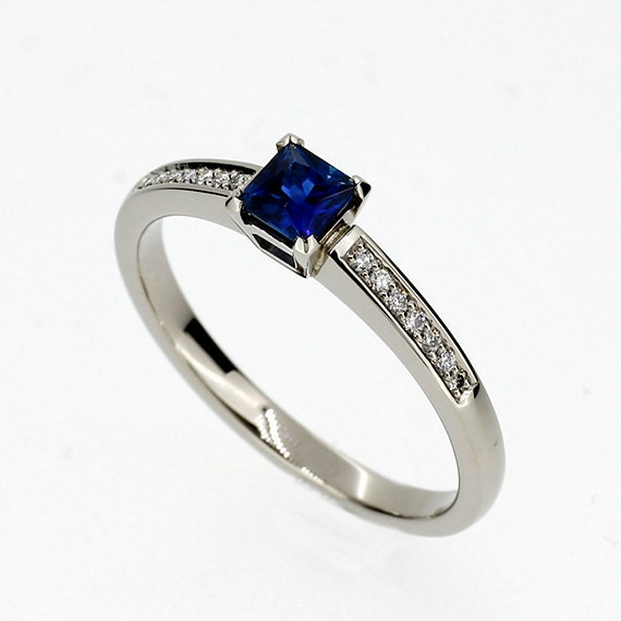 princess cut blue sapphire engagement ring by