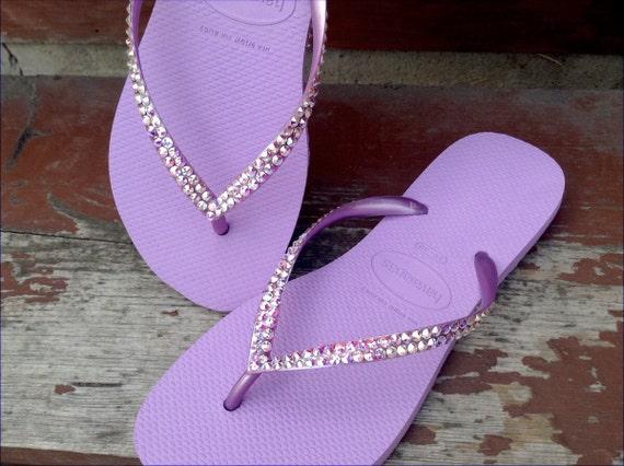Purple Lilac Orchid Havaianas Custom flip flops Crystal Lavender Violet w/ Swarovski Rhinestone Jewels Bling Bridal Wedding Beach Shoes