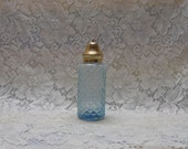 Vintage Blue Glass Vanity Accessory Pressed Glass Powder Shaker with Brass Lid  1960's Shabby Chic