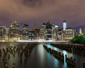Manhattan Skyline Photograph - New York City Night - Landscape Print - Financial District, World Trade Center, Manhattan, Brooklyn Pier