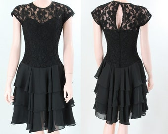 Vintage 1980s Black Tiered Skirt Lace Bodice Dress by Late Edition \\ S-M \\ Small - Med \\ Made in USA \\ Little Black Dress \\ Party, Prom