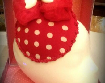 Red and white polka dot fascinator, Cosplay Burlesque Halloween Mini Hat Pin-up