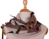 SALE! elegant felt, nuno felted necklace, scarf, collar, beige and roses with green - by inmano