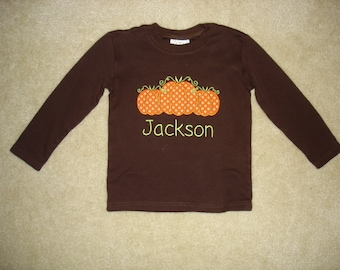 Baby Toddler Boys Embroidered Personalized Monogrammed Fall Halloween Thanksgiving Pumpkin Trio Applique Brown Long Sleeve Shirt or onesie