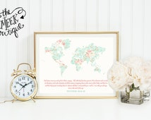 INSTANT DOWNLOAD, Scripture Printable, Go and Make Disciples, Matthew 28:18-20, Great Commission, Map, Shabby Chic, Printable, No. 600