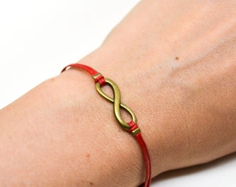 Infinity bracelet, red cord bracelet with a bronze endless charm, Yoga bracelet, gift for her, minimalist jewelry, friendship bracelet