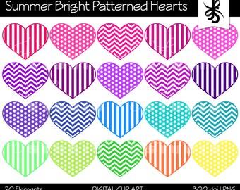 Digital Clipart-Patterned Hearts-Summer Bright Colors-Chevron-Stripes-Heart Graphics-Digital Scrapbook Elements-Instant Download Clip Art