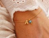 Bridesmaids Gift - Initial Bracelet - Turquoise Evil Eye Bracelet - Gold Personalized Bracelet - Maid of Honor Bracelet - Monogram Bracelet