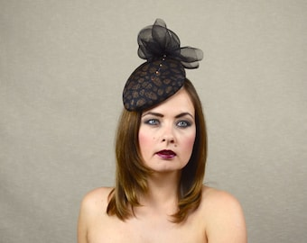 Black and Coper Teardrop Pillbox Hat Fascinator with Crin Bow and Quill - Black Fascinator - Races Hat - Ascot
