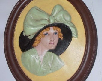 Vintage erma gilliland duncan 1910 wall cameo, 1970s, hand painted, numbered and signed