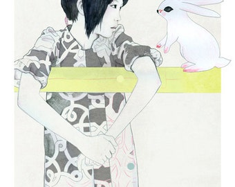 "A5 A4 Art print ""Chloe & the rabbit"" (limited edition)"