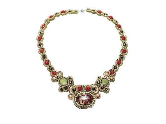 Soutache Bib Necklace. Jasper, Red Agate, Freshwater Pearl, Serpentine Necklace. Red Green Statement Necklace