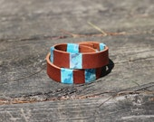 Leather wrap bracelet with fabric accents