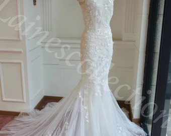Mermaid Gown with Lace decorated Gown