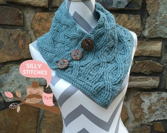 Rocky Shoal Cabled Cowl with Large Buttons Blue Mist