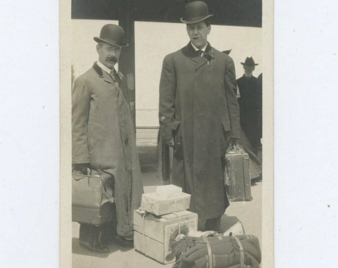 Men in Long Overcoats with Luggage, c1910s Vintage Photo (58399)