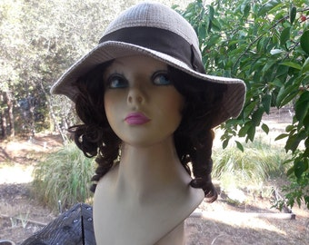 Vintage 90s Giorgio Armani Hat in Flax Linen and Cotton Tan Plaid with Brown Ribbon Band