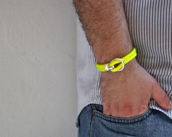 Men's nautical bracelet in neon yellow climb rope, unisex