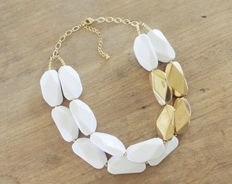 White and Gold Statement Necklace, Chunky White Necklace, Gold Bib Necklace, Gold Dipped Statement Necklace