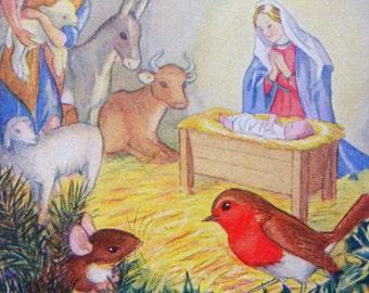 1961 CHRISTMAS ROBIN NATIVITY Scene Print Ideal for Framing