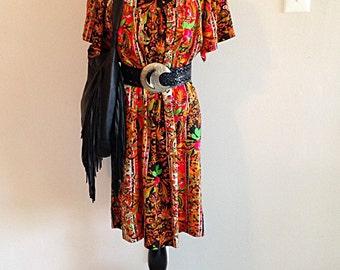 Crazy Print Orange and Black 1960s Groovy Dress Ladies Medium to Large
