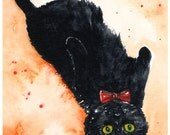 Bow Ties are Cool: Fine Art Watercolour Black Cat Print