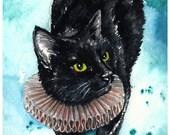 An Elegant Ruff: Fine Art Watercolour Black Cat Print
