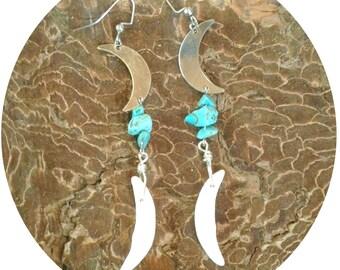 Turquoise Coyote Moon Earrings