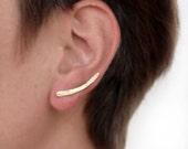 Brass ear crawlers, ear cuffs, ear crawlers, brass ear climbers, stud earrings, pin bar earrings, ear stud, sterling silver ear wire