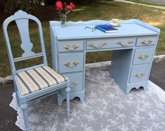 French Provincial Blue Desk / Vanity