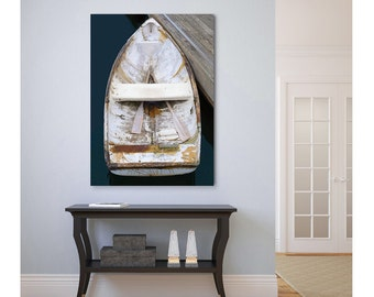 Boat Canvas Print, Nautical Wall Decor, Large Wall Art, Rowboat Oars Photography, Vertical Beach Coastal Artwork, Navy Blue Beige White