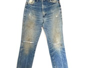 """1970s Vintage Distressed Whiskered Wranglers Waist 28.5"""""""