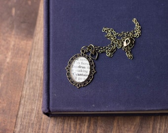 Victor Hugo Les Miserables Enjolras and Grantaire Antiqued Bronze Book Page Necklace