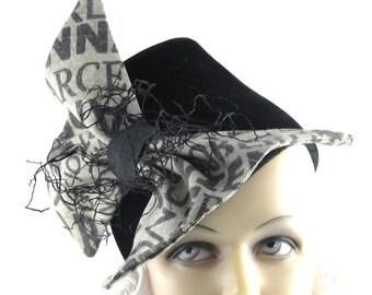 Womens Hat Black Fur Felt Velour Beige Bow Handmade Hat Church Hat Cuffs Ascot Derby Races Cloche Veil Art Deco Custom Made for Each Client