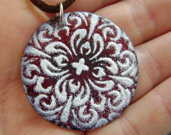 RED MANDALA - Mandala Pendant, Enamel Necklace, Enamel Jewelry, Necklace, Spiritual Jewelry, Kaleidoscope, Glass Pendant, Statement Jewelry
