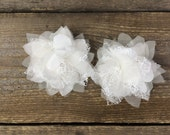 Lark, set of two handmade silk organza and lace flowers on alligator clips, flower girl hairpieces, lace and silk flower